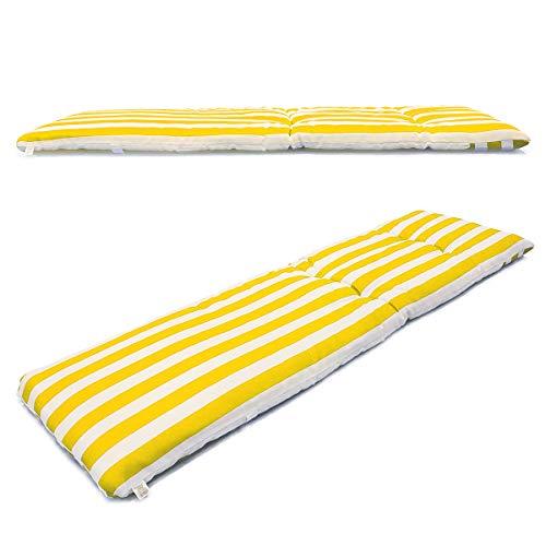 1 cojín colchón para Tumbona o Mueble para Jardín, Playa… + Bolsa AL VACÍO Reutilizable (Medidas 180 x 50 x 6 cm). Diseño Rayas Amarillas Y Blancas. Cama.