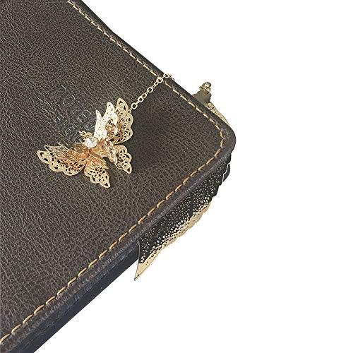1 Pcs Metal marcadores arte hojas con mariposa Ven con caja de regalo perfecto para amigos y familiars(Dorado)