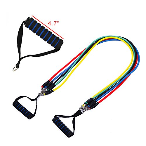 11pcs Bandas de resistencia, conjunto de tubos de ejercicios, con anclaje de puerta, correas de tobillo,manijas para la aptitud, bolsa de transporte para fortalecimiento, conformación del cuerpo, eje