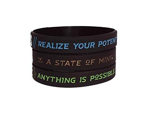 11thGear 3 Pulseras de Pulseras de Silicona de Cita Positiva Motivacional - Success Focus Believe