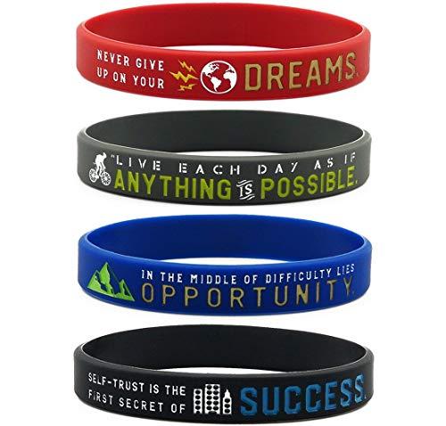 11thGear 4 Pulseras de Pulseras de Silicona de Cita Positiva Motivacional - Anything Is Possible Success Dreams Opportunity