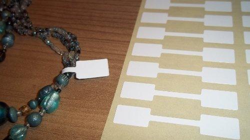 150 Blanco Rectangular Joyería Etiquetas Para Precio Pegatinas / Forma De Mancuerna Con Forma Etiquetas