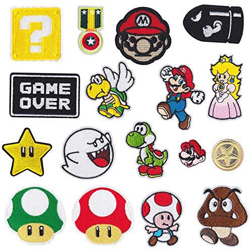 17 piezas Parches de planchado para videojuegos de Super Mario Bros, parches bordados, parches para coser en ropa, chaquetas, mochilas, vaqueros