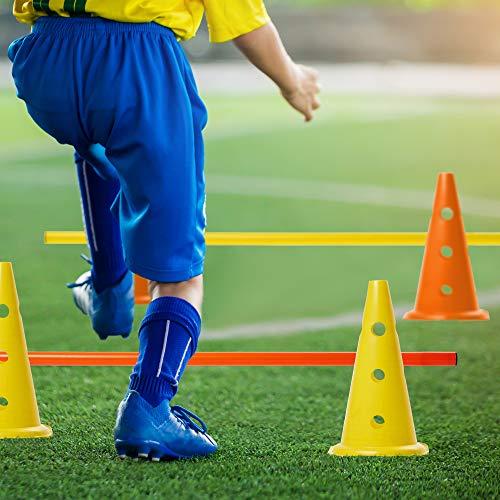 18 Pcs Vallas de Obstáculos de Entrenamiento de Coordinación Ajustable, 12 Conos y 6 Palos, Deportes Fútbol y Entrenamiento del Perro, Conjunto de Agilidad Velocida con Bolsa de Transporte