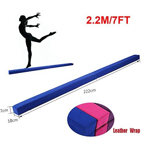 220 cm / 7.2 pies Equilibrio Beam de Entrenamiento de Gimnasia,Balance Beam de Gamuza Sintética Plegable, Ejercicio de Entrenamiento Deportes en Casa o Gimnasia (Azul)