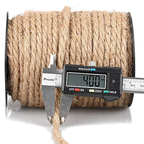 35M Cuerda de Yute Gruesa Cuerda cáñamo 4 mm,Natural Rollo de Cordel Yute para Embalaje,decoración, jardinería