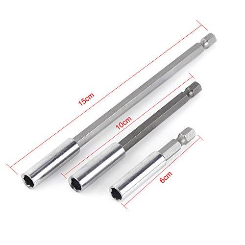 3pcs Taladro eléctrico Destornillador toma de broca Titulaire de bits extensión Bar porte-bit magnético herramienta de la varilla hexagonal 60/100/150mm