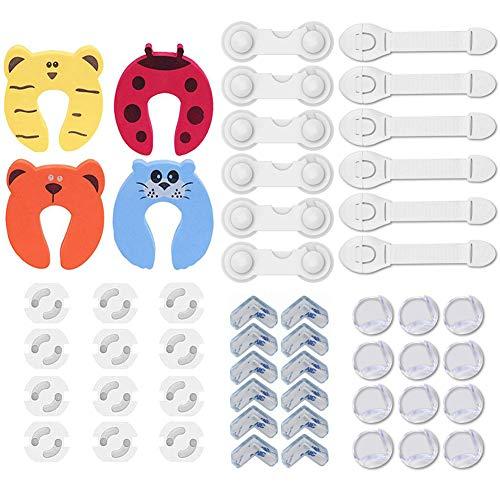 40 Piezas Kit de Seguridad para Bebés, 12 Cerraduras de Seguridad Niños+12 Protectores Esquinas Bebes+ 12 Cubiertas para enchufes+4 Protectores Puertas Bebe
