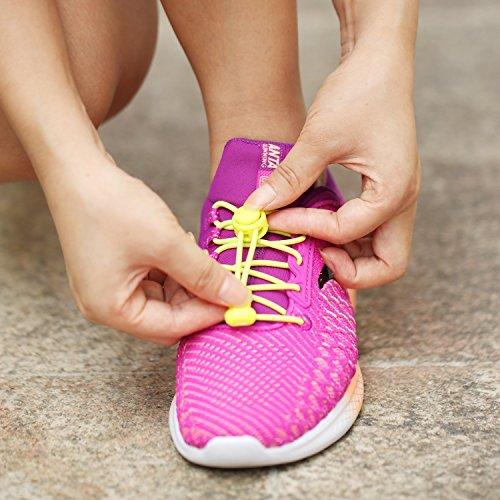 5 Pares Cordones de Zapatos, Accevo Cordones Elásticos para corredores, niños, personas mayores y personas con estilos de vida activos(Negro, Blanco, Gris, Azul, Amarillo)