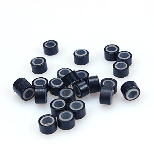 500 piezas micro anillos de 5 mm de silicona forrado cuentas perlas, enlaces para vincular extensiones de plumas de cabello humano (negro)