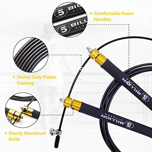 5BILLION Cuerda para Saltar de Velocidad-Aluminio-Ajustable con Rodamiento de Bolas-Entrenamiento para el Entrenamiento Doble, Entrenamiento Cruzado, Ejercicio, WOD, MMA y Entrenamiento del Box (Oro)