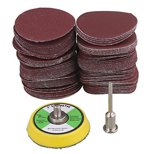 60-2000 Grit 2-Inch 50mm Sanding Discs de lija, gancho y lazo, lijado, almohadilla, herramienta de pulido, paquete, 100