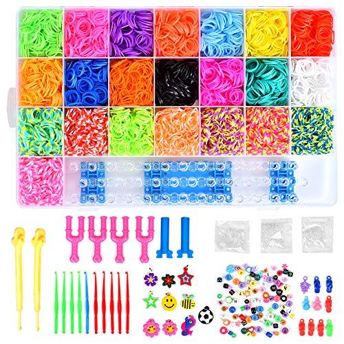 6800 Bandas de Goma DIY Cintas de Telar Kit de Pulseras con Bandas de Telar Pulsera Collar Herramienta de Tejer para Niños Juguete