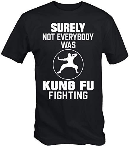 6TN Hombre Fijo No Everybody Fue Kung Fu Combate Camiseta de Manga Corta - Negro, Mediana