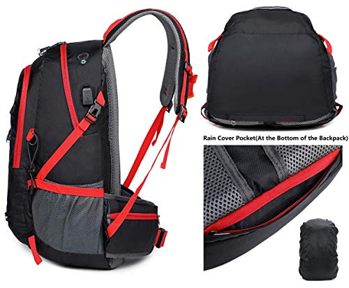 A AM SeaBlue 30L Ligero Mochila de Senderismo para Acampar,Viajar,Alpinismo,Trekking,15.6 Pulgadas Mochila de Viaje Puerto USB,Cubierta Impermeable para Mochila,Negro