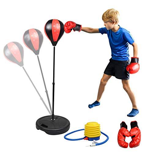 Abree Set de Boxeo para Niños Saco de Boxeo Independiente con Guantes de Boxeo Pelota de Boxeo,Altura Ajustable(80-110cm) - Juego Deportivo para Niños 4 - 10 años - Regalo Originales para Niños