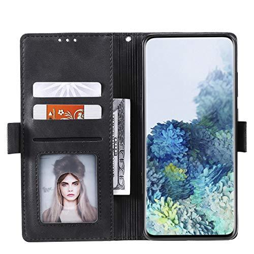 Abuenora Funda para Samsung Galaxy Note 20 Ultra, Carcasa Libro con Tapa Flip Case Antigolpes Cartera PU Cuero con Soporte Plegable Oficial Vintage Clasica Empalme Funda Color Negro