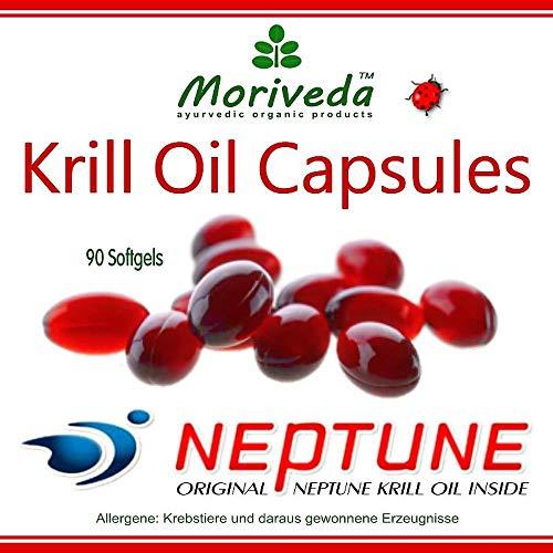 Aceite de Krill cápsulas 90 o 270, 100% puro NEPTUNE aceite de krill premium - Omega 3,6,9 astaxantina, fosfolípidos, colina, vitamina E - Calidad de la marca MoriVeda (1x90)