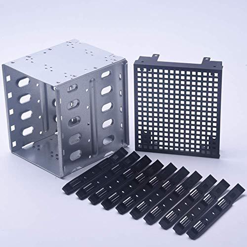 Acero Inoxidable 5.25incha 5X 3.5inch SATA SAS HDD Estante Jaula Duro Conductor Bandeja Caddy con Ventilador Space - Disco Duro Jaula Adaptador Rack Soporte - Plata + Negro