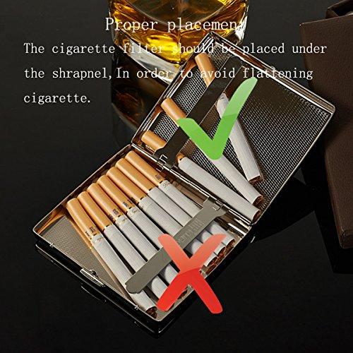 Acero Inoxidable High-Grade CaLeQi Zigarettenetui, Níquel Revestimiento Wire Drawing, Dispone de 20 Cigarrillos. (Con Marken-Geschenk-Box)