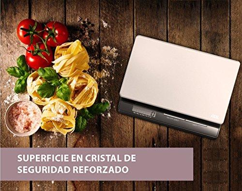 ADE Báscula digital de cocina Franzi KE1215, pantalla LCD, material-cristal de seguridad reforzado (Gris-Negro)