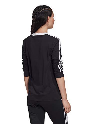 adidas 3 STR LS Camiseta de Manga Larga, Mujer, Negro (Black/White), 40
