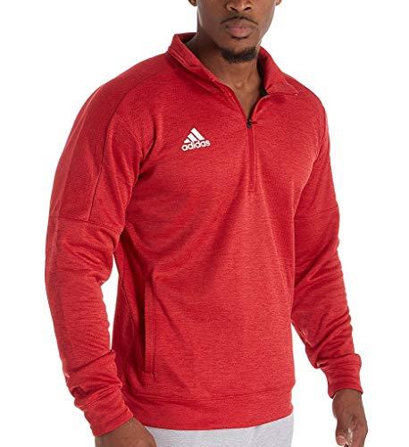 adidas Athletics Team Issue - Rodilleras de manga larga con cierre de 1/4, Athletics Team Issue 1/4 cremallera manga larga, Hombre, color Power Red Melange/Blanco, tamaño L