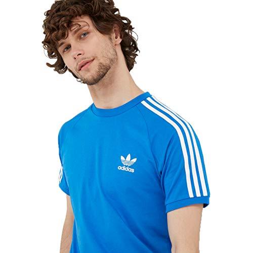 Adidas Camiseta de 3 rayas para hombre, Azul, S