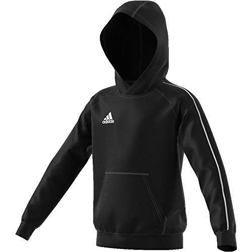 Adidas CORE18 Hoody Y Sudadera con Capucha, Unisex Niños, Negro/Blanco, 5-6 años (Talla del Fabricante: 116)