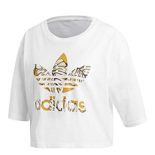 adidas Crop Top Camiseta para Mujer Blanco, 40