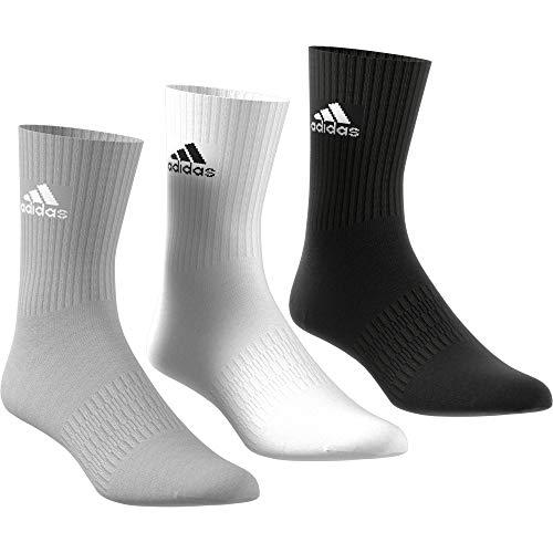 adidas Cushioned Crew Calcetines, Multicolor (Negro/Gris/Blanco), M (Pack de 3) Unisex adulto