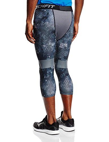 adidas para Hombre 3/4 Pantalones Techfit Cool Graphic Mallas, Primavera/Verano, Hombre, Color Gris - Vista Grey S15/Black, tamaño S