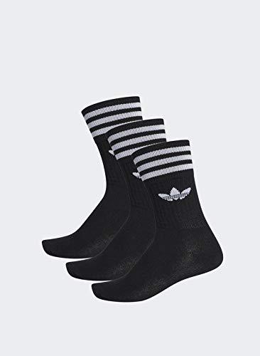 adidas Solid Crew, Calcetines Unisex Adulto, negro / blanco, 39/42, paquete de 3