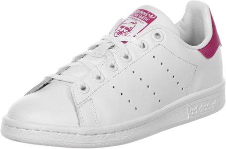 adidas Stan Smith J, Zapatillas Unisex Adulto, Blanco (Footwear White/Footwear White/Bold Pink 0), 37 1/3 EU
