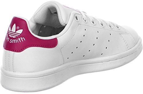 adidas Stan Smith J, Zapatillas Unisex Adulto, Blanco (Footwear White/Footwear White/Bold Pink 0), 38 2/3 EU