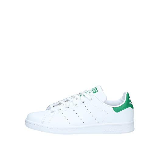 adidas Stan Smith J Zapatillas Unisex Niños, Blanco (Footwear White/Footwear White/Green 0), 38 2/3 EU