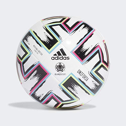 adidas UNIFO LGE J350 Balón de Fútbol, Boys, White/Black/Signal Green/Bright Cyan, 4