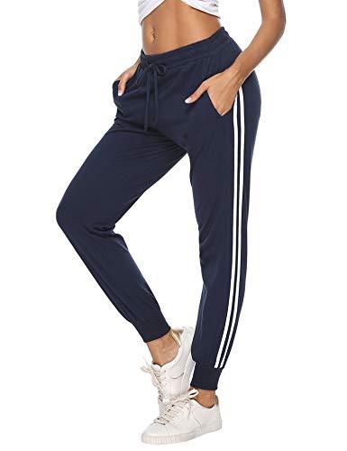 Aibrou 100% Algodón Pantalones Deportivos para Mujer Pantalones de Pijama Largos Primavera Verano Pantalón de Chándal con Bolsilpara Gimnasio Deportes Correr Entrenamiento Jogging