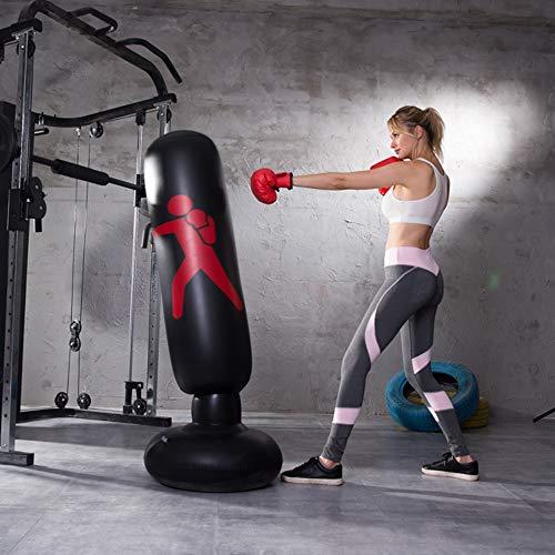 AILUOR - Saco de boxeo hinchable para entrenamiento de golpes y patadas, con forma de torre, saco de arena para niños, para practicar fitnes, deportes, juegos, liberación de estrés, 160 cm, negro