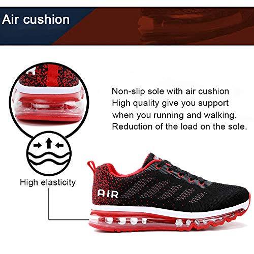 Air Zapatillas de Running para Hombre Mujer Zapatos para Correr y Asfalto Aire Libre y Deportes Calzado Unisexo Black Red 44