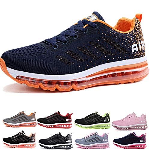 Air Zapatillas de Running para Hombre Mujer Zapatos para Correr y Asfalto Aire Libre y Deportes Calzado Unisexo Blue Orange 41