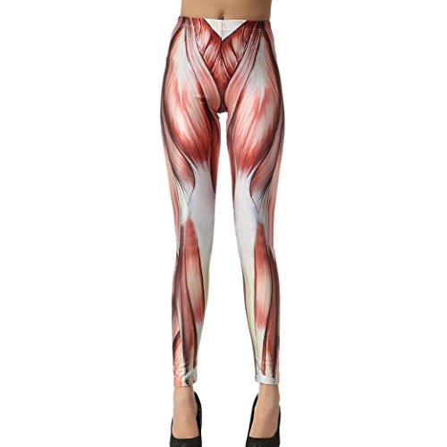 Aivtalk Moda Leggings Skinny Pantalones Lápiz Elásticos Pants para Mujer - Estampado de Músculo