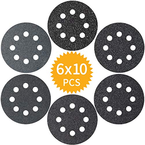 Akuoly 60 Pieza Discos abrasivos para lijar 60 100 150 180 240 320 Carburo de silicio Grano 125 mm Papeles de Lija 8 Agujeros