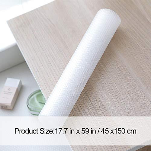 Alfombrilla antideslizante e impermeable para armario, no adhesiva (transparente, 3 rollos, 45 x 150 cm) goma EVA, para armario, cajón y refrigerador, antiincrustante, antihumedad, para casa u oficina