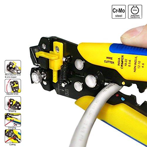 Alicate Pelacables Automático,Profesional Multifuncional Automático de Alambre Cable Crimpadora Autoajustable Pelacables Alicates de Corte Herramienta de Terminal AWG 24-10 (0,2~6,0 mm²)