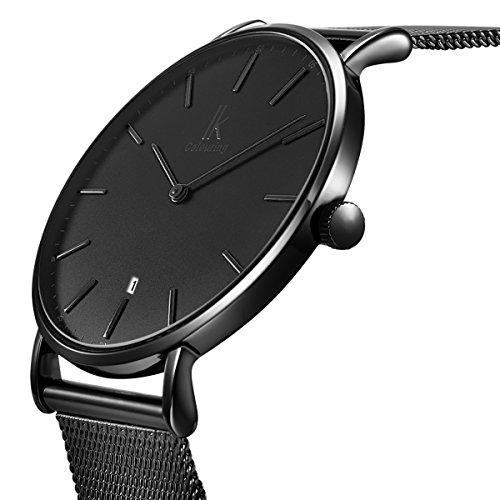Alienwork Reloj Unisex Relojes Hombre Mujer Acero Inoxidable Banda de Malla Metálica Negro Analógicos Cuarzo Calendario Fecha Impermeable Ultra-Delgada Slim