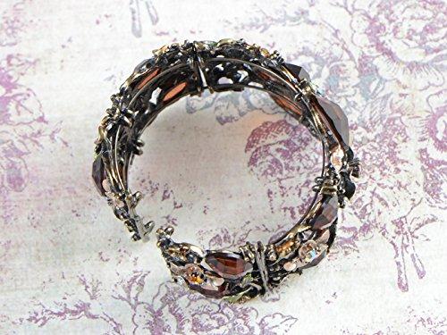 Alilang–antiguo Golden tono marrón Peach Floral draonfly jaula Cuff pulsera