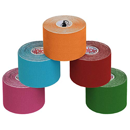 ALPIDEX 5 Rollos Cinta Kinesiología Tape 5 m x 5 cm Cinta Muscular E- Book Ejemplos Aplicación, Color:colores surtido