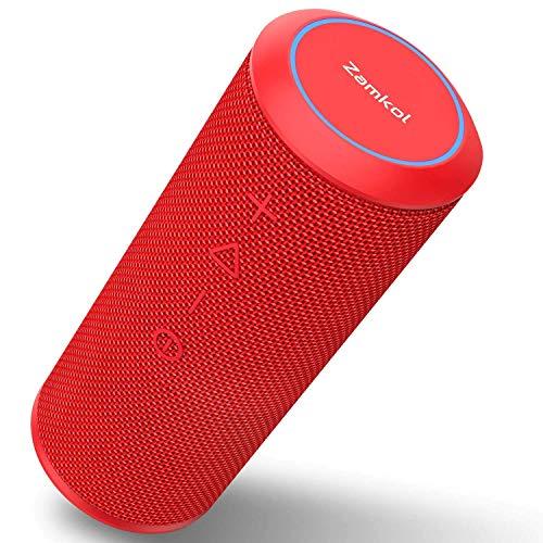 Altavoz Bluetooth, Zamkol Altavoz Inalámbrico Portátil, 24W 360° Sonido Estéreo con Doble Driver, TWS Funcion con Micrófono y Manos Libres, IPX 6 Impermeable para Playa, Ducha, Viajes(Rojo)