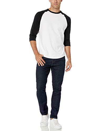 Amazon Essentials - Camiseta de béisbol de manga 3/4 para hombre, Negro/Blanco, US S (EU S)